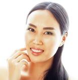 Verticale asiatique de plan rapproché de visage de beauté de femme Beau m attrayant Photos stock
