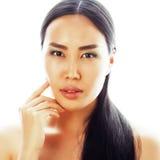 Verticale asiatique de plan rapproché de visage de beauté de femme Beau m attrayant Images stock