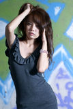 Verticale asiatique sexy de fille Images libres de droits