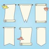 Verticale Banners en Vogels Stock Fotografie