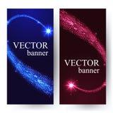 Verticale banners met glanzende dalende sterren in Stock Foto's