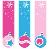 Verticale Banners van Kerstmis Retro Ballen Royalty-vrije Stock Foto's