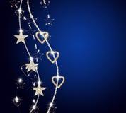 Verticale briljante kettingen met gouden sterren Stock Fotografie
