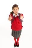 Verticale d'étudiant féminin dans l'uniforme Photos stock