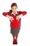 Verticale d'étudiant féminin dans l'uniforme Images stock