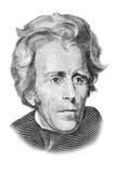 Verticale d'Andrew Jackson sur billet de vingt dollars. Photographie stock
