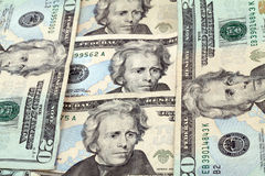 Verticale d'Andrew Jackson sur billets de vingt dollars Photos libres de droits