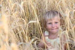 Verticale d'enfant dans le domaine jaune photo stock