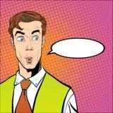 Verticale d'homme étonné Homme d'affaires étonné Homme étonné Idée de concept de publicité et de promo Art de bruit rétro Photographie stock