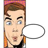 Verticale d'homme étonné Homme d'affaires étonné Homme étonné Idée de concept de publicité et de promo Art de bruit rétro Photos libres de droits