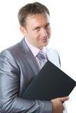 Verticale d'homme bel d'affaires avec le cahier Photographie stock