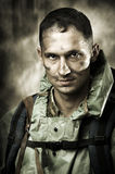 Verticale d'homme bel de soldat triste Image stock