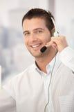 Verticale d'opérateur heureux de service à la clientèle Photo libre de droits