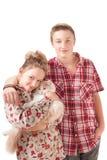 Verticale d'un adolescent et d'une adolescente Photo stock
