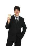 Verticale d'un argent comptant de fixation d'homme d'affaires Photos stock