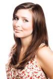 Verticale d'un brunette de jeune femme de beauté Images libres de droits