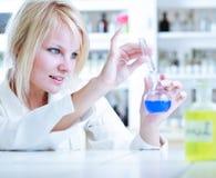Verticale d'un chercheur/d'étudiant féminins de chimie Image libre de droits
