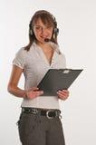 Verticale d'un employé de centre d'appel Photos libres de droits