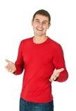 Verticale d'un homme bel dans une robe rouge Photo stock