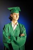 Verticale d'un homme réussi son de remise des diplômes Images libres de droits