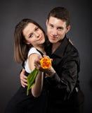 Verticale d'un jeune couple drôle dans l'amour avec Photos stock
