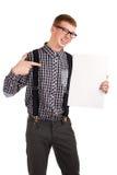 Verticale d'un jeune homme avec le panneau blanc Photographie stock