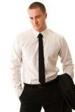 Verticale d'un jeune homme d'affaires Image stock