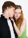 Verticale d'un jeune sourire d'adolescent de couples Photographie stock libre de droits