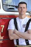 Verticale d'un pompier Images libres de droits