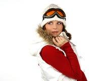 Verticale d'un snowboarding heureux de jeune fille Image libre de droits