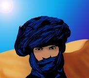 Verticale d'un touareg dans le désert Images libres de droits