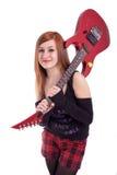 Verticale d'une adolescente avec la guitare images libres de droits