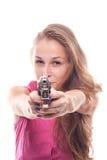 Verticale d'une belle fille avec un canon Photos libres de droits