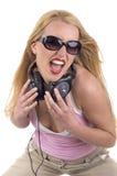 Verticale d'une femelle DJ Photo libre de droits