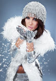 Verticale d'une femme de l'hiver Photographie stock