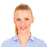Verticale d'une femme de sourire d'affaires Photo libre de droits