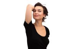 Verticale d'une femme de sourire, d'isolement en fonction Image stock