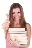 Verticale d'une jeune femme avec des livres d'isolement Photographie stock