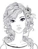 Verticale d'une jeune femme avec le long cheveu illustration libre de droits