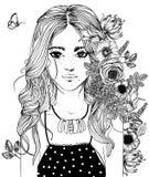 Verticale d'une jeune femme avec le long cheveu illustration de vecteur
