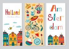 Verticale de bannermalplaatjes van Nederland Stock Foto's