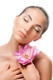 Verticale de beauté avec la fleur Image stock