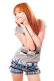 Verticale de belle fille red-haired rêveuse Photos libres de droits