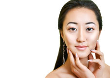 Verticale de belle jeune femme asiatique effectuez haut normal images stock