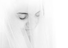 Verticale de belle, timide mariée Image libre de droits