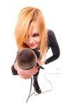Verticale de chanteur de roche féminin Photos libres de droits