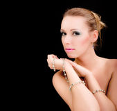 Verticale de charme de femme, modèle de mode de beauté Photo libre de droits