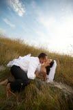 Verticale de couples de Newlywedds (mariée et marié) Photos stock