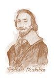 Verticale de croquis de type de gravure de Cardinal Richelieu Photographie stock libre de droits