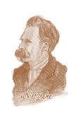 Verticale de croquis de type de gravure de Friedrich Nietzsche Photographie stock libre de droits